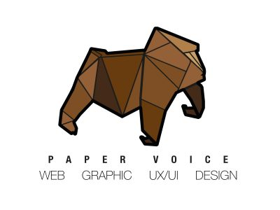 paper voice, oragami, web, graphic, logo, branding, design, ux, ui, newcastle upon tyne, paper voice logo, gorilla, monkey