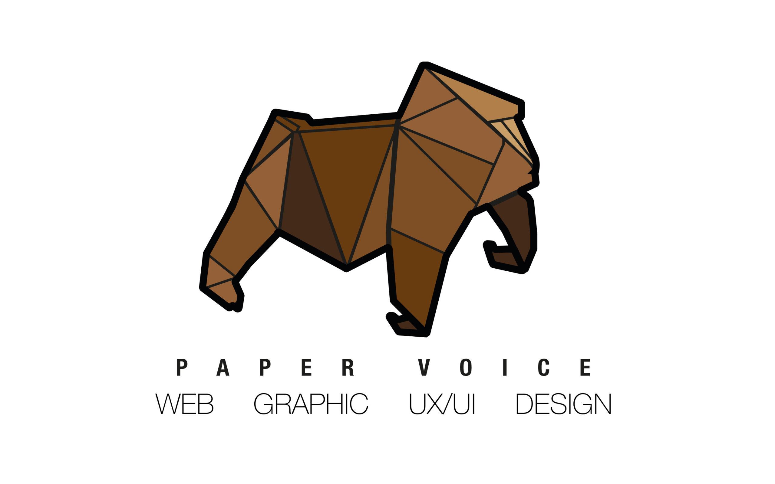 paper voice, oragami, web, graphic, logo, branding, design, ux, ui, newcastle upon tyne, paper voice logo, gorilla, monkey