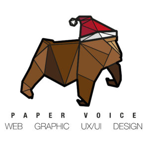 paper voice, christmas logo, logo design, paper voice logo, gorilla, origami logo,