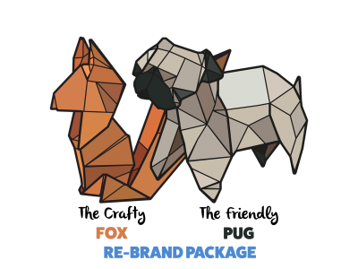 paper voice, oragami, web, graphic, logo, branding, design, ux, ui, newcastle upon tyne, fox, pug, logo design, logo,
